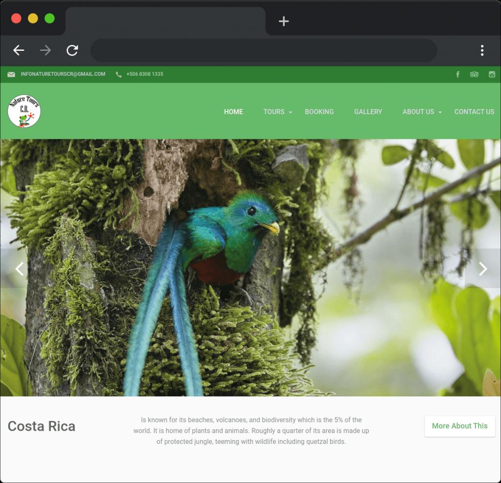 Desarrollo sitio web Nature Tours CR