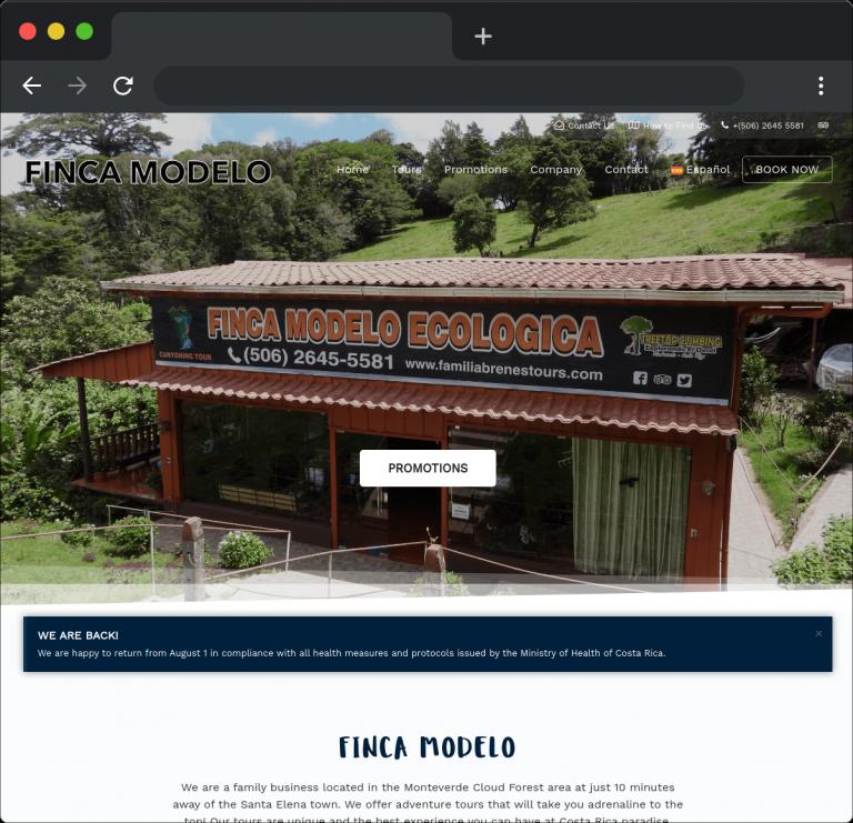 Desarrollo sitio web Finca Modelo Ecológica