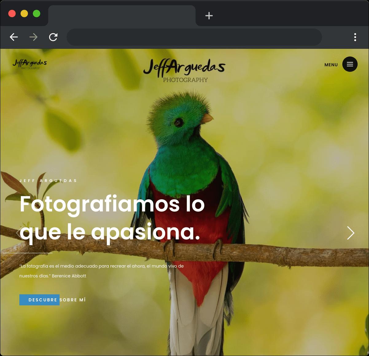 Desarrollo sitio web Jeff Arguedas Photography